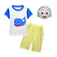 Estate cocomelon set per neonato ragazza vestiti inglesi illuminazione bambini maschera per bambini + stampa t shirt top + pantaloncini 3pc outfit kid casual tacksuit