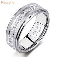 Newshe Mens Promise Wedding Band Tungsten Carbide Rings For Men Charm Ring 8mm Size 9-13 AAA White Round Zircon Jewelry TRX058 A0526
