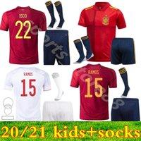 2021 Espanha Jerseys de futebol Ramos Thiago 20 21 Equipe nacional Diego Costa Rodri Kids Camisa de futebol Camisetas de Fútbo
