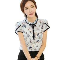 Rubbonfish Femmes Spring Style Summer Style Chemis Blouses Chemises à manches courtes Fleur Imprimé Arc Décor Blusas Top Feminina DF1265 Femme