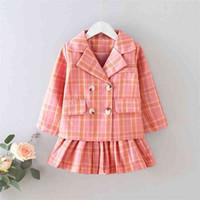 Gooporson 가을 아이들의 옷 격자 무늬 코트 스키마다 어린 소녀 학교 유니폼 패션 한국어 어린이 의류 세트 유아 의상 210715