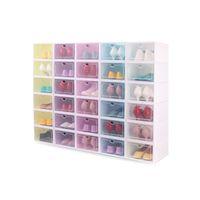 صناديق الأحذية مجموعة متعدد الألوان طوي تخزين البلاستيك واضح المنزل الحذاء الرف المنظم مكدس عرض مربع 22 H1