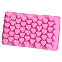 Mini Heart Cake Mold Tool Pink Silicone Chocolate Shape Baking Dish Ice Cube Candy Truffle #4M15 Tools