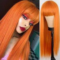 26inch 금발 오렌지 긴 직선가 가발 여자 방열 섬유를위한 코스프레 합성 머리 가발