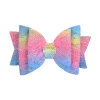 무지개 색상 머리핀 그라디언트 스팽글 3 레이어 헤어 클립 밝은 파우더 나비 어린이 액세서리 Barrettes 1 8YL K2