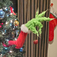 Christmas Decorations 2021 New Year Furry Green Grinch Arm Ornament Holder for The Christmas Tree for Christmas Home Party Sale G0915