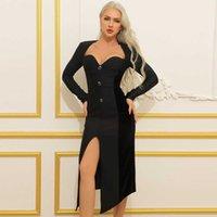 Ocstrade Bandage Dress Elegant Button Black Bodycon Arrivals Women Lone Sleeve Night Club Party es 210527