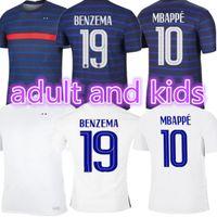 Euro 2021 tazza Benzema Mbappe Griezmann Francia Jersey di calcio Pogba Giroud Kante Maillot de Foot Equipe Maillots Camicia da calcio Uniformi La 2022 Men + Kid Kit