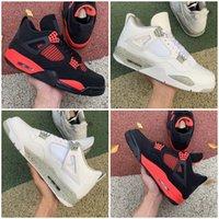 2021 Yayın 4 IV Beyaz Oreo Erkekler Basketbol Ayakkabı Kırmızı Thunder 4 S Tech Gri-Beyaz Chaussures Eğitmenler Sneakers Spor Ayakkabı Boyutu 40-47