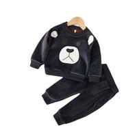2018 осенью и зима детская одежда корейский девочек золотой бархатный костюм Детский с длинным рукавом мультфильм медведь два частя 943 V2