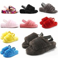 2021 Kadın Kürklü Terlik Kabartmak Yeah Slayt Sandal Avustralya Bulanık Yumuşak Ev Bayanlar Bayan Ayakkabı Kürk Kabarık Sandalet Erkek Kış Slip # 5987 C1FD #