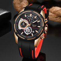 Top LIGE Fashion Silicone Strap Quartz Men Watches Casual Date Business Male Wristwatches Clock Monterey Homme 9960
