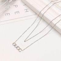 2021 Collar de diseño extravagante de alta calidad Doble moda letra de amor de acero inoxidable joyería al por mayor