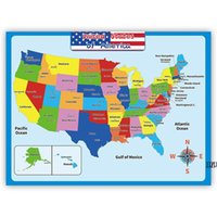 60*45cm America Map Wall Stickers Children Geography Learning Early Childhood Education Poster Walls Chart Classroom AHB7062