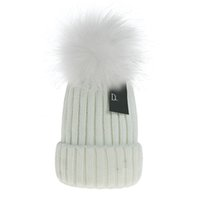 2021 Beanie New Winter D Brand Caps Strickmützen Frauen Motorhaube verdicken Mützen Waschbären Pelz Pompons Warm Caps Pompon Hüte