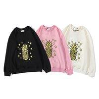 Inverno Quente Camisolas 3 Color Womens 100% Algodão Canhinho Hip Hop Abacaxi Impressão Design Tags Ins Mesmo Estilo Tamanho M-XXL