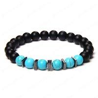 Moda Piedra Natural Black Onyx Beads Pulseras Hematita Spacer Malachites Howlites Turquesa Bead Charm Pulsera masculina