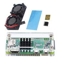 Doppio ventilatore con dissipatore di calore per Raspberry PI 3 Modello B + Plus o 3b Cassa acrilica 4 in 1 kit Zero W e portafoglio di raffreddamento per laptop