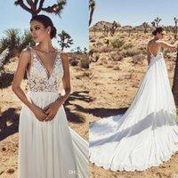 Calla Blanche 2020 Wedding Dresses V Neck Lace Boho Bridal Gowns Sleeveless Backless A Line Beach Princess Wedding Dress Custom