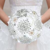 1Piece Elegant Custom Ivory Bridal Wedding Bouquets Stunning Pearls Beaded Crystal Brooch Stitch Decorative Flowers & Wreaths