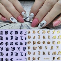 DIY Charm Lable Letter Self-adhesive 3D Water Transfer Nail Stickers Gold Black White Brand Manicure Full Wraps Tattoo
