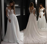 Newest 2021 Illusion Long Sleeve Beach Boho Wedding Gowns Sheer Neck Lace Applique Beaded Chiffon A Line Bridal Dress Buttons Back Vestidos De Novia Summer AL9061