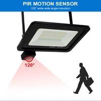 Floodlights Outdoor PIR Motion Sensor LED Flood Light 50W 30W 20W 10W IP66 Waterproof Reflector Lamp Hanging Exterior Garden