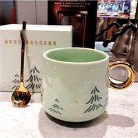 Mugs Ceramic Mug With Spoon Set Cute Light Luxury Girl Coffee Cup Japanese Gift