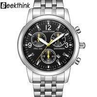 المعصم geekthink أعلى الكلاسيكية العلامة التجارية الكوارتز ساعات رجالية الفولاذ المقاوم للصدأ حزام الأزياء الفاخرة ساعة الذكور relogio masculino