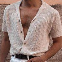 Cavalheiro de malha Polos Cardigan Solid Cardigan 2021 Primavera verão homens poloshirt manga curta sexy v neck botões roupas de algodão