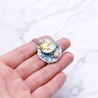 Nouveaux accessoires Collier de zircon marin plaqué argent en cuivre