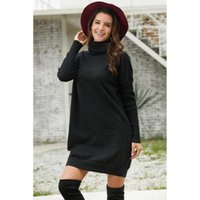 Casual Dresses Winter High Collar Jersey Women's Mid-length Loose-Fit Long-sleeved Pullover Black Ribbed Cowl Neck Lightweight Sweater Dress