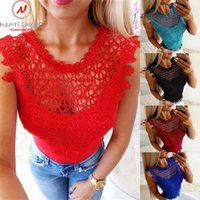 Women's T-Shirt Sexy Women Summer Solid Color T-Shirts Mesh Patchwork Design Lace Decor See Through O-Neck Sleeveless Slim Pullovers Top