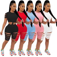 Women Burn Out Plain outfits Summer Clothing Sexy tracksuits S-2XL Black White T-shirt+shorts Jogger Suits Sweatsuits Casual Sportswear Date Street Lounge wear 212