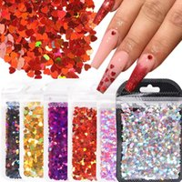 Nail Art Kits 1Bag Love Heart Sequins Ultrathin Red Pink Glitter Flakes Laser Paillette DIY Decor Manicure Tools