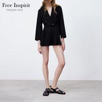 Printemps Sexy Style Sexy Spectsuits Couleur Solid Couleur Couleur V-Cou Bouton Bouton Faire Décorer Combinaison plissée pour femmes 210601