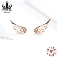 BAMOER Genuine 925 Sterling Silver Feather Fairy Wings Stud Earrings Silver for Women Fashion Silver Jewelry Christmas SCE343 1080 T2