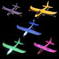 DIY рука бросок светодиодные освещения летающие планера плоские игрушки пены самолет модель на улице вспышки светящиеся игрушки для детей