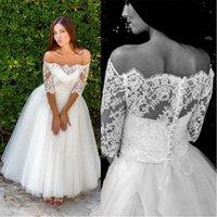 Vintage A Line Wedding Dresses Bridal Gowns Tea Length Half Sleeve Bateau Neck Lace Top Boho Beach Tulle Bride Dress