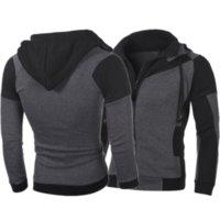 Men's Hoodies & Sweatshirts 2021 Jacket Double Zipper Collar Mosaic Contrast Fashion Autumn Winter Hoodie Casual Loose Coat