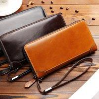 Wallets 2021 Quality Men's Wallet Genuine Leather Luxury Clutch Bag Fashion Business Zipper Cowhide Purse