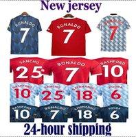 18 19 20 21 Sancho Ronaldo Jerseys de fútbol Manchester Rashford B. Fernandes Pogba 2021 2122 Camisetas de jersey de fútbol marcial United Utd Uniforms Man + Kids Kit