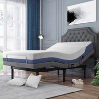 Muebles de dormitorio Cama ergonómica ajustable con masaje de vibración, puerto USB 1A / 2A, control remoto inalámbrico y luz nocturna LED, gemelo XL, gris