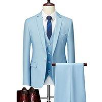 Erkekler Takım Elbise Blazers Erkekler Ince Iş Gündelik Elbise Üç Parçalı Set Ceket Pantolon Yelek / Erkek Düğün Damat Blazer Coat Pantolon Yelek