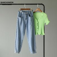 Kadın Kot Qiukichonson Boncuk Inci Denim Pantolon Kadın Kore Tarzı Sevimli Ayak Bileği Bantlı Joggers Pantalones Vaquerosv