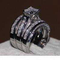 FDLK 3-в-1 Женский натуральный белый кристаллический кольцо Кубический цирконий Ювелирные изделия свадебные обручальные кольца