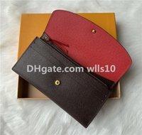 Оптовая продажа 9 цветов мода одиночная молния Pocke мужская женщина кожаный кошелек леди дама длинный кошелек с оранжевой коробкой 60136 серийный код LB81