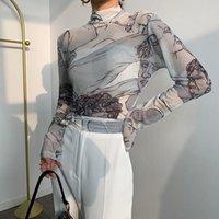 CocoFlower Lace Malha-Estilo Top Slim-Fit Mock-Fit Mock-Neck-Neck Bo Yang Camisa De Gás Camisa Feminina Mola Passeio Mola Blusa Blusa Mulheres Blusas Camisas