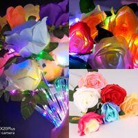 مضيئة led فلاش روز باقة تيكتوك الاصطناعي زهرة الزفاف عيد الحب اقتراح حزب ديكور هدية متعددة الألوان الورود وهمية مع أضواء عصا G61NHL0