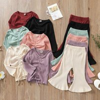 Kids Clothing Sets Girls Outfits Baby Clothes Children Wear Suits Long Sleeve T-shirts Flared Trousers Pants 2Pcs Suit B7480